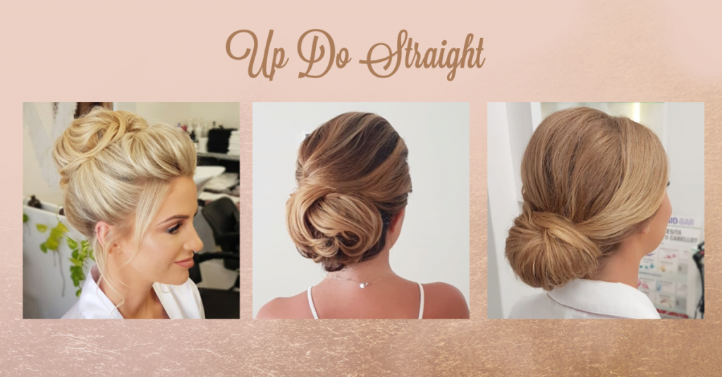 Bridal Up Do Straight Hair by Doranna Hairstylist in Tulum, Mexico