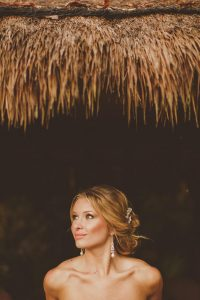 Romantic messy bridal updo at Fairmont Mayakoba by Doranna Wedding Hairstylist & Bridal Makeup Artist