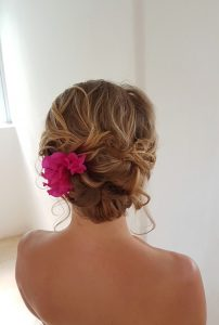 Boho wedding updo by Doranna Wedding Hairstylist & Bridal Makeup Artist in Akumal, Mexico