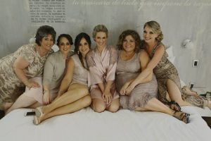 Modern bridal party at Be Playa, Mexico by Doranna Wedding Hairstylist & Bridal Makeup Artist