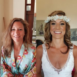 Before and after by Doranna Wedding Hairstylist & Bridal Makeup Artist in Puerto Aventuras, Mexico