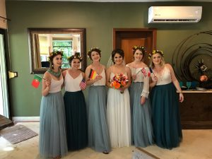 Boho bridal party in Playacar, Mexico by Doranna Wedding Hairstylist & Bridal Makeup Artist