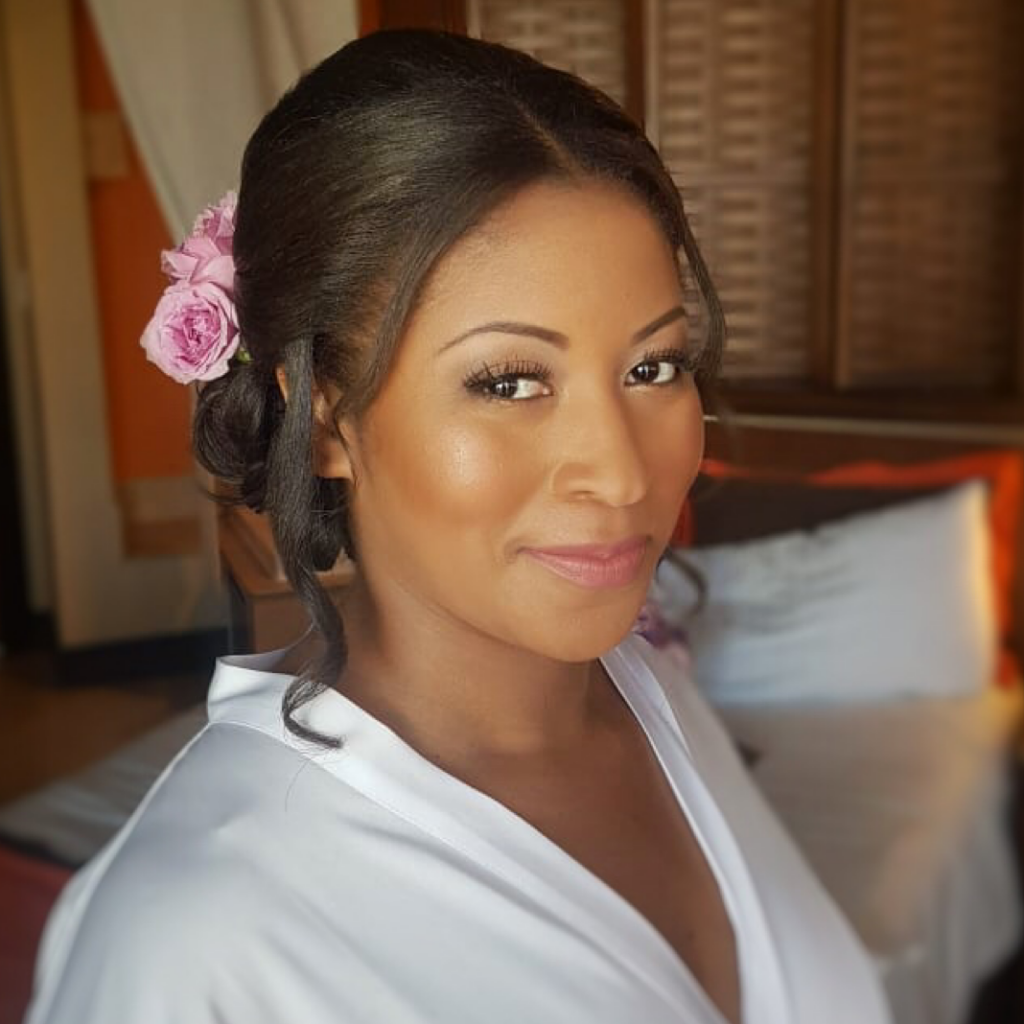 African american bride hair and makeup in Cancun by Doranna Wedding Hairstylist & Bridal Makeup Artist