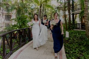 Modern bridal party at Reef Playacar by Doranna Wedding Hairstylist & Bridal Makeup Artist