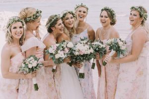 Boho bridal party hair and makeup by Doranna Wedding Hairstylist & Bridal Makeup Artist at El Cid Resorts