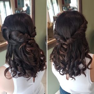 Half updo with curls by Doranna Wedding Hairstylist & Bridal Makeup Artist in Tulum, Mexico