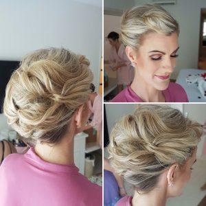Textured updo by Doranna Wedding Hairstylist & Bridal Makeup Artist at Blue Bay Grand Esmeralda, Mexico