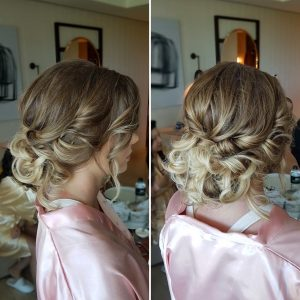 Bridesmaids messy updo by Doranna Wedding Hairstylist & Bridal Makeup Artist at Thompson Playa del Carmen