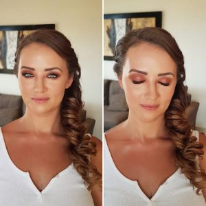 Copper tone bridal makeup by Doranna Wedding Hairstylist & Bridal Makeup Artist at El Faro Condos