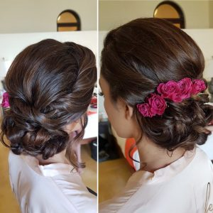 Bridal romantic low bun by Doranna Wedding Hairstylist & Bridal Makeup Artist in Puerto Aventuras, Mexico