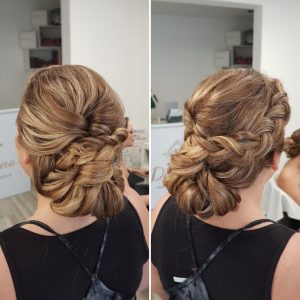 Braided textured bridesmaid updo by Doranna Wedding Hairstylist & Bridal Makeup Artist in Playa del Carmen, Mexico