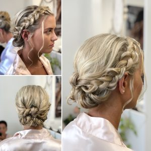 Dutch braid and low bun for bridesmaid. Doranna Wedding Hairstylist & Bridal Makeup Artist in Riviera Maya, Mexico