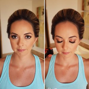 Natural bride makeup by Doranna Wedding Hairstylist & Bridal Makeup Artist at Reef Coco Beach, Mexico