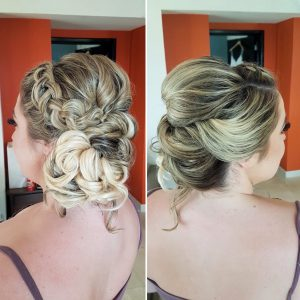 Boho Braided low bun wedding hairstyle by Doranna Wedding Hairstylist & Bridal Makeup Artist in Tulum, Mexico