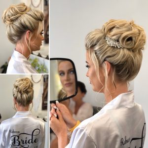 Bridal high bun by Doranna Wedding Hairstylist & Bridal Makeup Artist in Mexico