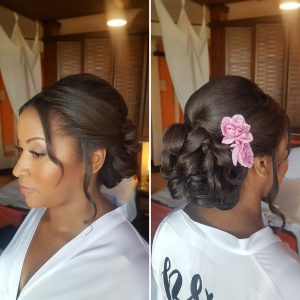 Curls bridal updo by Doranna Wedding Hairstylist & Bridal Makeup Artist. African American bride at Dreams Riviera Cancun