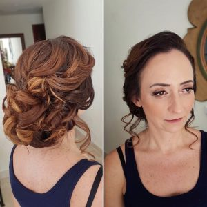 Messy bridal updo by Doranna Wedding Hairstylist & Bridal Makeup Artist at Dreams Tulum, Mexico