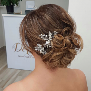Bridal messy updo by Doranna Wedding Hairstylist & Bridal Makeup Artist