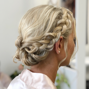 Bridesmaids braided updo by Doranna Wedding Hairstylist & Bridal Makeup Artist in Riviera Maya, Mexico
