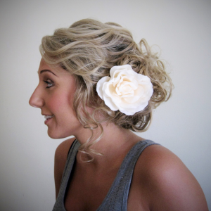 Soft bridal updo with curls by Doranna Wedding Hairstylist & Bridal Makeup Artist in Mexico