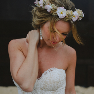 Boho bridal hairstyle by Doranna Wedding Hairstylist & Bridal Makeup Artist at Fairmont Mayakoba, Mexico