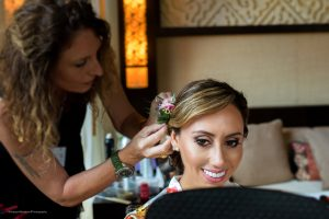 Bride hair and makeup at Fairmont Mayakoba by Doranna Wedding Hairstylist & Bridal Makeup Artist