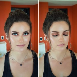 Glam bridesmaid makeup by Doranna Wedding Hairstylist & Bridal Makeup Artist in Riviera Maya, Mexico