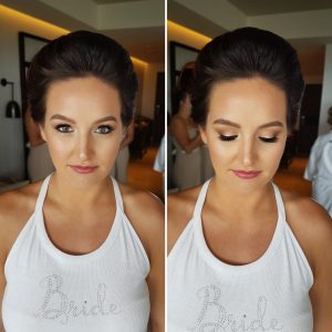 Bridal airbrush makeup at Thompson Playa del Carmen by Doranna Wedding Hairstylist & Bridal Makeup Artist