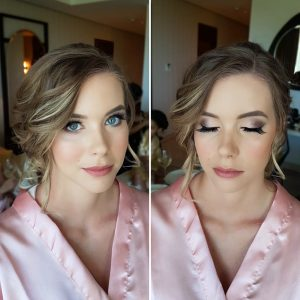 Blue eyes bridesmaid makeup in Mexico by Doranna Wedding Hairstylist & Bridal Makeup Artist