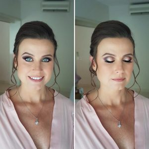 Blue eyes bridesmaids makeup at BlueBay Grand Esmeralda Resort. Doranna Wedding Hairstylist & Bridal Makeup Artist