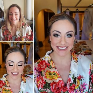 Before and after makeup by Doranna Wedding Hairstylist & Bridal Makeup Artist at Secrets Silversands, Mexico