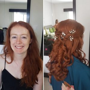 Before and after hairstyling for ginger bride by Doranna Wedding Hairstylist & Bridal Makeup Artist in Playa del Carmen, Mexico
