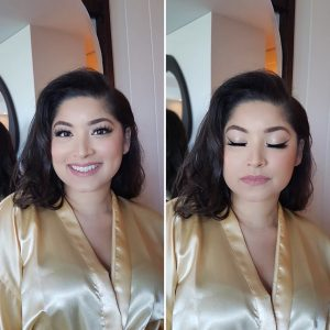Asian dramatic bridesmaids makeup at Thompson Playa del Carmen, Mexico. Doranna Wedding Hairstylist & Bridal Makeup Artist