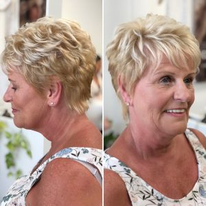 Short hair mother of the bride look by Doranna Wedding Hairstylist & Bridal Makeup Artist in Playa del Carmen, Mexico