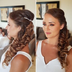 Side Swept fishtail wedding updo by Doranna Wedding Hairstylist & Bridal Makeup Artist in Playa del Carmen, Mexico