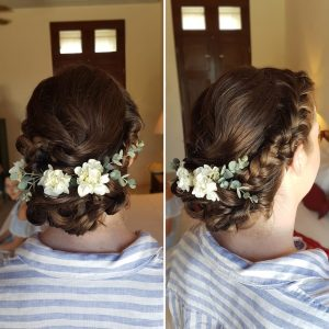 Romantic braided low bun Doranna Wedding Hairstylist & Bridal Makeup Artist at Hacienda del Mar, Mexico