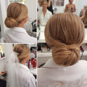 Bridal low bun by Doranna Wedding Hairstylist & Bridal Makeup Artist in Playa del Carmen, Mexico