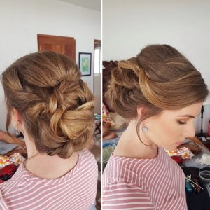 Ginger bridesmaids updo hairstyle by Doranna Wedding Hairstylist & Bridal Makeup Artist in Akumal, Mexico