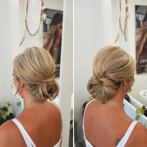 Mother of the bride elegant low bun by Doranna Wedding Hairstylist & Bridal Makeup Artist in Mexico